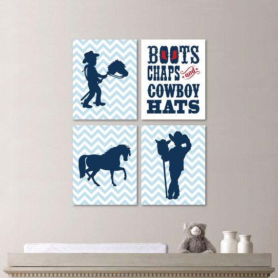 Cowboy Wall Decor Nursery : Baby boy nursery print art cowboy decor kids wall