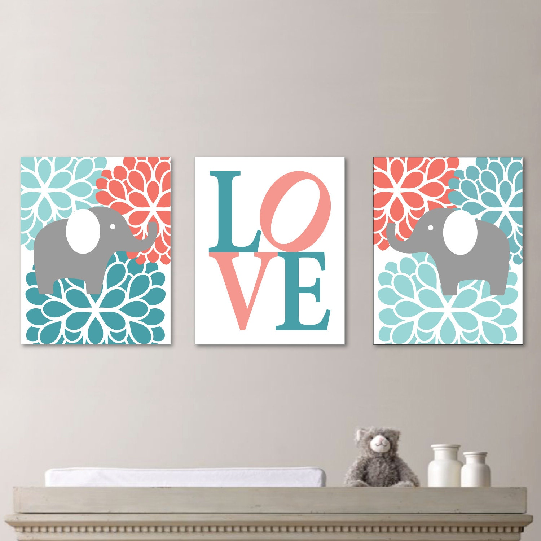 Nursery Art For Children Kids Wall Art Baby Girl Nursery Baby: Baby Girl Nursery Art Flower Elephant Nursery Decor Kids