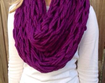Purple Arm Knit Scarf, Chunky Infinity Scarf, Cozy Cowl