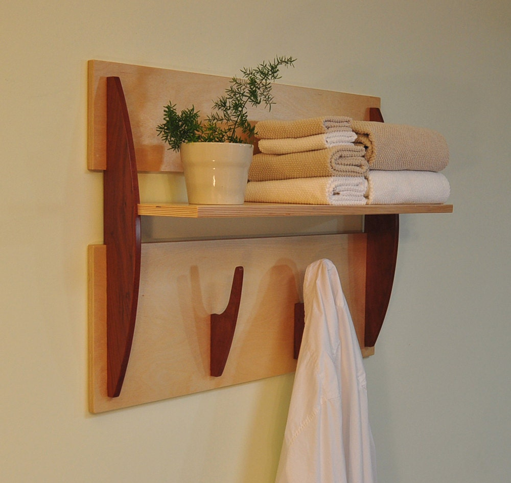 Innovative Wall Shelves: Modern Wall Shelf With 2 Hooks Cantilevered Shelf In By