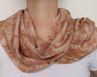 Rose Petal Eco Dye Silk Scarf