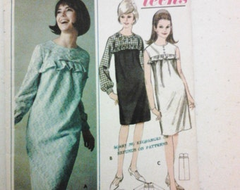 """1960s Pattern Butterick 3741. Size 10 Subteen. Bust 29"""". Free US Shipping!"""
