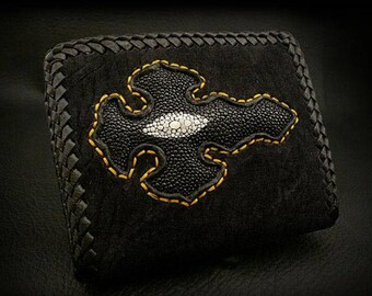 Shark Leather Wallet with Stingray K03A05
