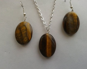 tigers eye necklace and matching earings