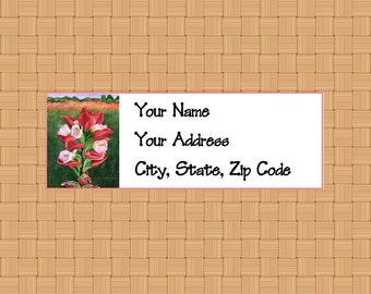 Address Labels Personalized Labels Return Labels Flower Labels Indian Paintbrush Flower