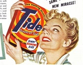 1950s Vintage Laundry Ad TIDE DETERGENT Magazine Print Advertisement Laundry Soap Retro Homemaker Ready to Frame