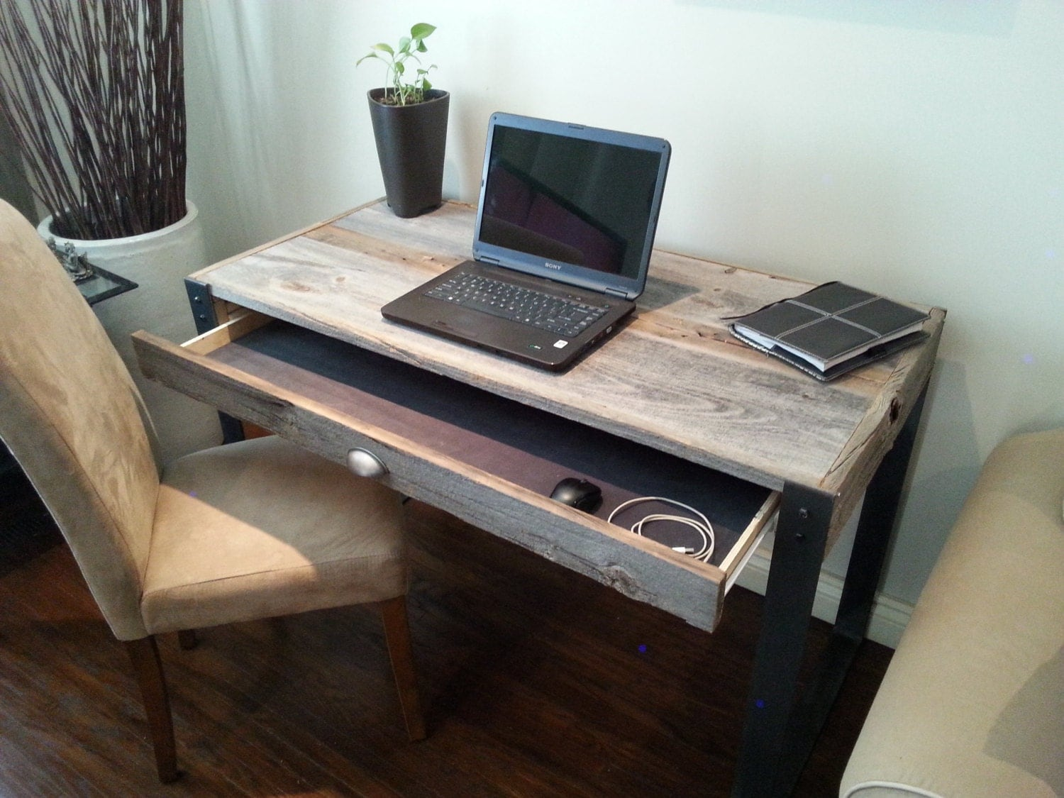 Old Barn Wood Desk with Drawer and U Style legs