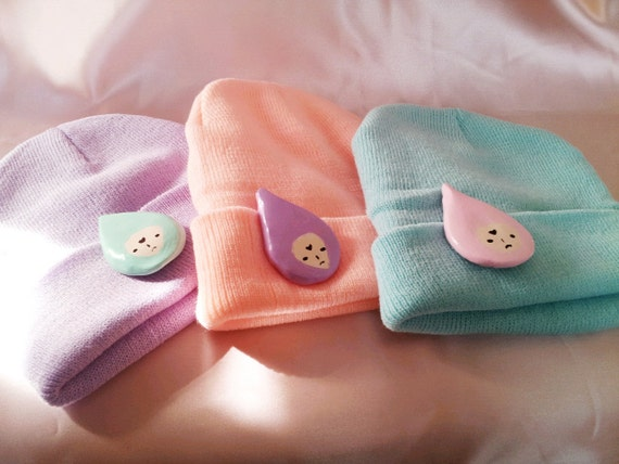 Kawaii Raindrop baby pastel beanie