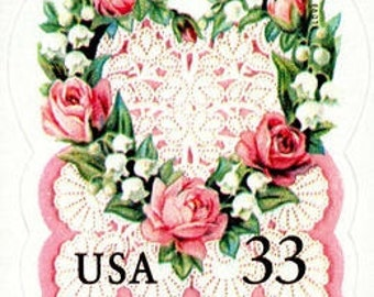 10 Unused 1999 Victorian Heart with Pink Roses - Postage Stamps Number 3274