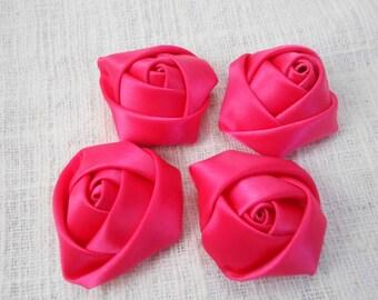 "Magenta Mini Rolled Rose, 1.5"" Satin Rosette, Wholesale Flower, Headband Rose Buds, 4cm Floral Embellishment,"
