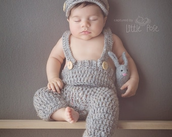 Crochet newsboy hat ,with long pant,with suspenders in 5 colors to choose,crochet baby boy hat and pant for photo prop