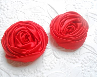 Multilayer Satin Rolled Rose, Red  45 mms Satin Rosette, Wholesale Flower, Headband Rose Buds, 4cm Floral Embellishment,