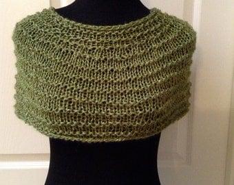 Hand Knit Ponchette/Cowl, Jewel Green