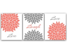 Home Decor Wall Art, Live Laugh Love, Coral Wall Art, Flower Burst Bathroom