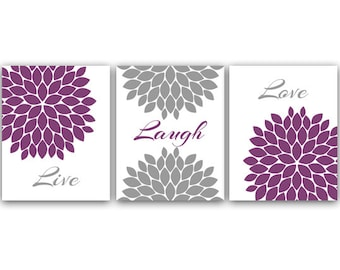 Home Decor CANVAS Wall Art, Live Laugh Love, Purple Wall Art, Flower Burst