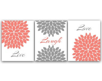 Home Decor Canvas Wall Art Live Laugh Love Coral Wall Art Flower Burst