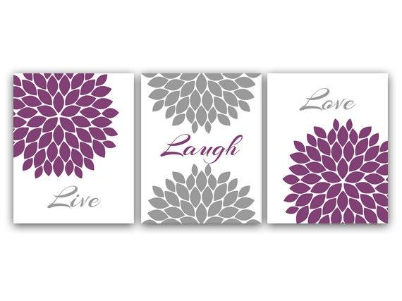 Home Decor Canvas Wall Art Live Laugh Love Purple Wall Art
