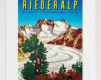 Art Swiss Alps Travel Poster Switzerland Vintage Print (ZT178)