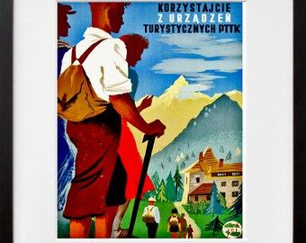 Swiss Hiking Art Print Switzerland Home Decor (ZT309)