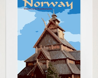 Norway Travel Print Poster Norwegian Wall Art (zt165)