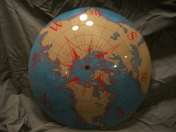 Large Vintage Nautical World Map Compass Globe Ceiling Light