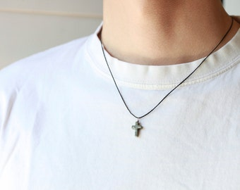 Mens Stone Pyrite cross - Mens wax cord Necklace - Pyrite cross - Stunning Pyrite cross