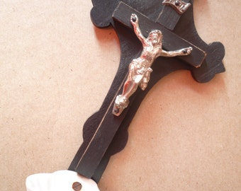 Antique French Water Font Crucifix Napoléon III Jesus on the cross / Porcelain, métal and wood