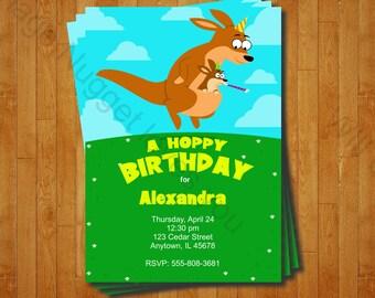 Kangaroo Party Invitation - printable birthday invite for an Australian Kangaroo Birthday Party