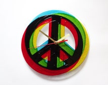 Hippie Sign Stereo Peace, Wall Clock, Painted Glass Clock, Modern Home decor, Stereo Effect, 3d Effect, Contemporary Design Clock, Gift  Box