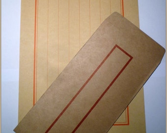 5 Traditonal Chinese Retro Kraft Brown Paper Envelopes and  5  Kraft Writing paper
