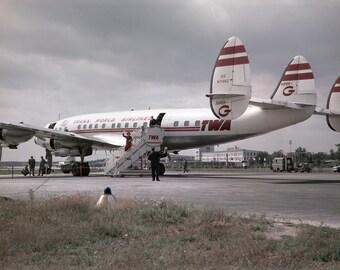 TWA Super Constellation 1950s Airplane Airport Airfield Design Photo Vintage Look Arthur von Schwertfuehrer (1891-1967) Open Edition