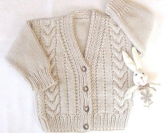Childs Aran knit cardigan - 2 - 3 years - Kids Aran sweater - Beige Toddler sweater - Knit baby clothes