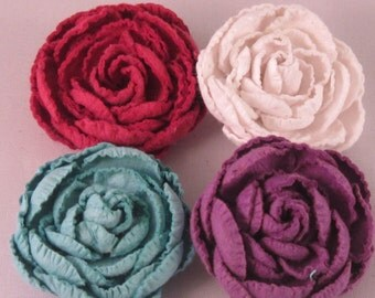 Set of (4) Paper Rose Flower Lapel Pin - Red, White, Blue, Purple - Everyday / Weddings / Proms