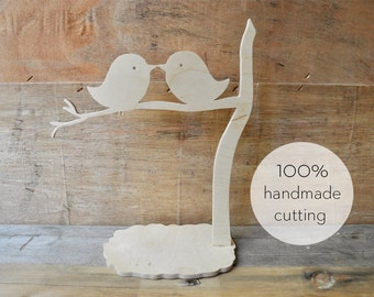 Birds in a tree - hand cut wood