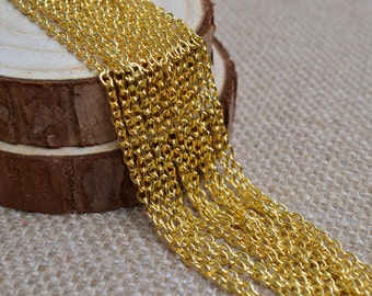 16ft of 4x3mm Round Link Gold Cable Chain,Iron Cross Chain,Small Gold Chains,Oval Link Twisted Gold Chains-Unsoldered,Nickel and Lead Free