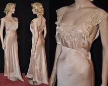 TALL Thirties Goddess! Vtg 30s Bias-Cut Silk Charmeuse Nightgown~ Sz- 37