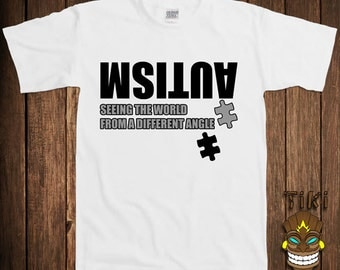 Funny Autism Awareness T-shirt Autistic Tshirt Tee Shirt Support Puzzle Piece Spectrum Seeing The World From A Different Angle