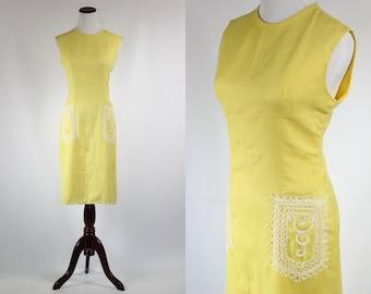 Citrine Yellow 1960's Lace Applique Dress