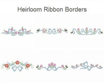 Heirloom Ribbon Borders Floral Flowers Bug Machine Embroidery Designs Pack Instant Download 4x4 5x5 6x6 hoop 10 designs SHE607
