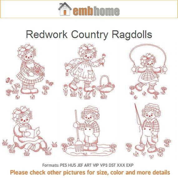 Redwork spring ragdolls garden spring season machine for Garden embroidery designs free