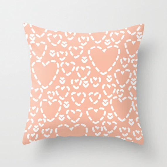 Throw Pillow Cover And Insert : Peach Hearts Pillow with insert Cover Modern Throw Pillow