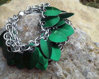 Scale Mail Overlapping Bracelet Band: Green Dragon Scale Sheet Overlapping Scale Armor Chainmail Cuff, Tumerok Bracelet