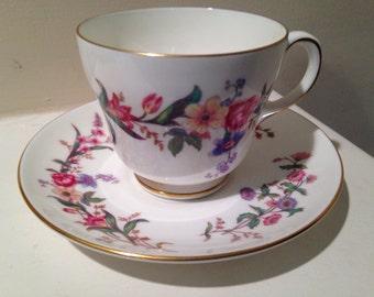 Vintage- Wedgewood Tea Cup and Saucer Devon Sprays Pattern