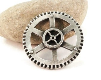 Steampunk Gear Metal Buttons 31mm Antique Silve Qty 3