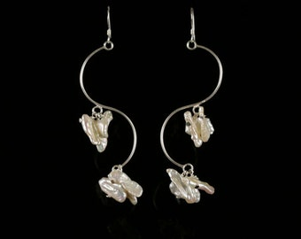 S A L E  Long Sterling Silver Earrings with Mother of Pearl