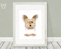 Yorkie | Dog breeds | Print art | Nursery wall art | Printable | Pet art  | Room decoration | Dog portrait illustration