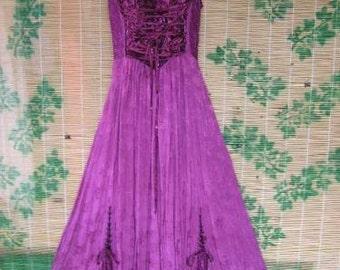 "Burgundy full length Boho Gypsy sun dress - Size XL (16) 44-48"""