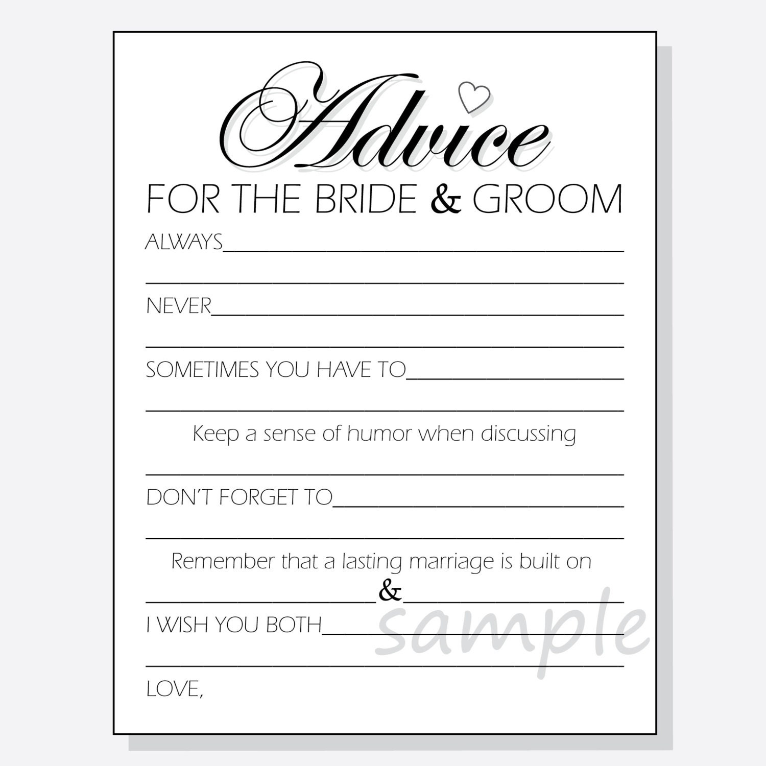 Diy advice for the bride groom printable cards for a shower for Bridal shower advice cards template