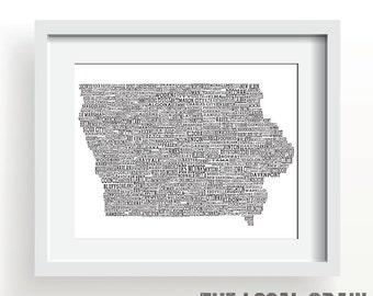 """IOWA TOWNS MAP 11x14"""" Print"""