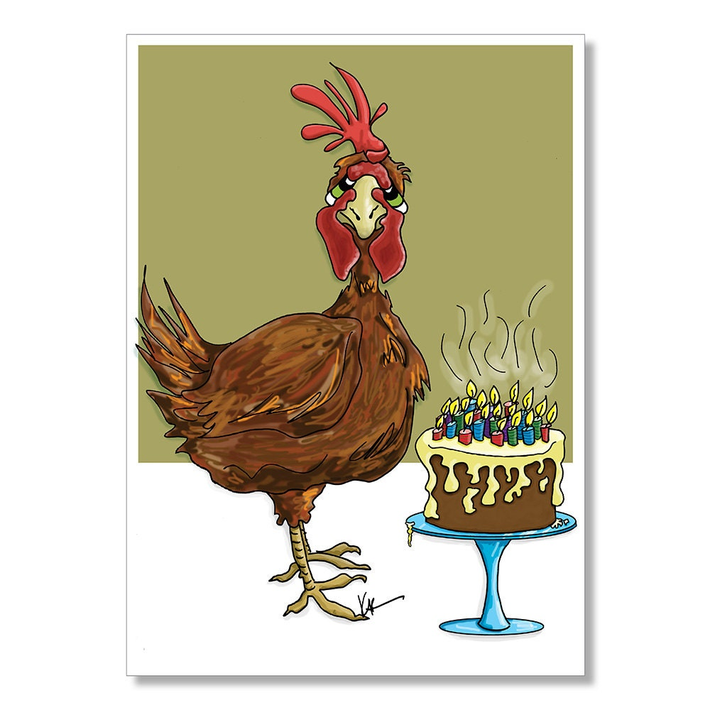 Red Chicken Birthday Card Getting Old Birthday Card Funny – Funny Birthday Cards About Getting Old